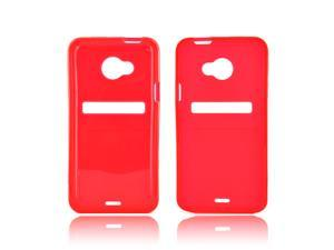 HTC EVO 4g LTE Crystal Rubbery Feel Silicone Skin Case Cover - Red