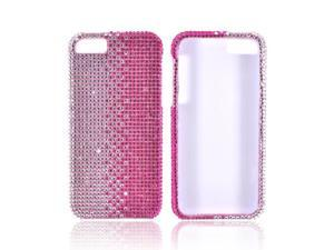 Apple Iphone 5 Bling Hard Plastic Case Snap On Cover - Hot Pink/ Silver Gems