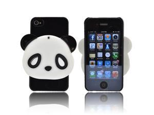 AT&t/ Vzw Apple Iphone 4, Iphone 4s Hard Plastic Case Snap On Cover W/ Bling & RotATing Mirror - Black/ White Panda