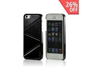 Black/ Silver Hard Case w/ Aluminum Back & Geometric Shapes for Apple iPhone 5