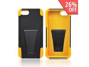 Apple Iphone 5 Hard Plastic Case Snap On Cover Over Silicone W/ Stand - Black/ Yellow