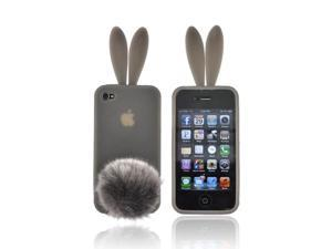 Smoke Bunny Rubber Feel Silicone Skin Case Cover Tail For Verizon ATT iPhone 4
