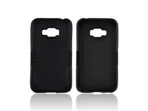 LG Optimus Elite Rubberized Hard Plastic Case Snap On Cover Over Silicone - Black Mesh On Black