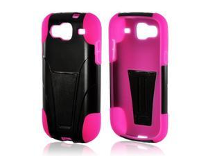 Black Hard Plastic Case Snap On Cover Over Hot Pink Silicone W/ Stand For Samsung Stratosphere 3