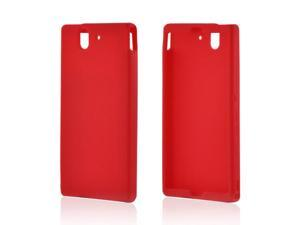 Xperia Z Case, [Red] Slim & Flexible Anti-shock Matte Reinforced Silicone Rubber Protective Skin Case Cover for Sony