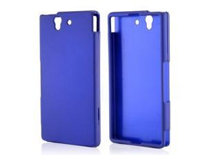 Sony Xperia Z Case, [Blue] Slim & Protective Rubberized Matte Finish Snap-on Hard Polycarbonate Plastic Case Cover