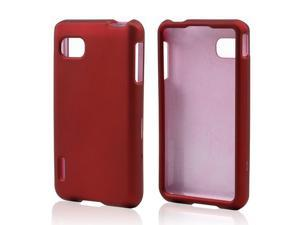 Red Rubberized Hard Plastic Case Snap On Cover For LG Optimus F3