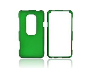 HTC Evo 3D Case, [Green] Slim & Protective Rubberized Matte Finish Snap-on Hard Polycarbonate Plastic Case Cover