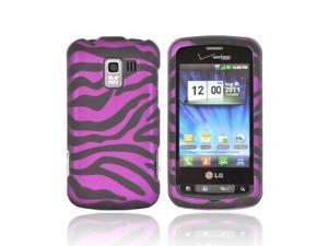 LG Enlighten Vs700 Rubberized Hard Plastic Case Snap On Cover - Purple/ Black Zebra