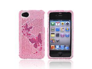 Butterflies Pink Bling Hard Case Cover For Verizon AT&T iPhone 4S 4