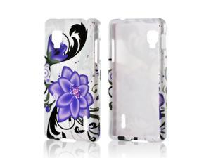 Slim & Protective Hard Case for LG Optimus G (Sprint) - Purple Lily on White