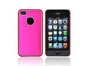 AT&t/ Vzw Apple Iphone 4, Iphone 4s Hard Back Case W/ Aluminum - Hot Pink/ Red