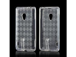 Clear Argyle Crystal Rubbery Feel Silicone Skin Case Cover For LG Spirit 4g