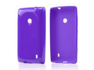 Nokia Lumia 521 Case, [Purple] Slim & Flexible Anti-shock Crystal Silicone Protective TPU Gel Skin Case Cover