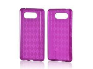 Nokia Lumia 820 Case, [Purple] Slim & Flexible Anti-shock Crystal Silicone Protective TPU Gel Skin Case Cover
