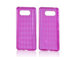 Pink Argyle Crystal Rubbery Feel Silicone Skin Case Cover For Nokia Lumia 820