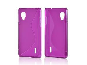 Purple S Crystal Rubbery Feel Silicone Skin Case Cover For LG Optimus G