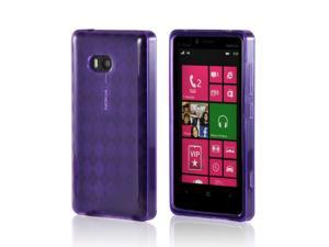 Nokia Lumia 810 Case, [Purple] Slim & Flexible Anti-shock Crystal Silicone Protective TPU Gel Skin Case Cover