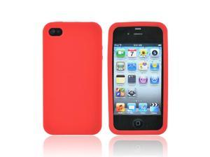 Red Rubber Feel Silicone Skin Case Cover For Apple Verizon AT&T iPhone 4 4S