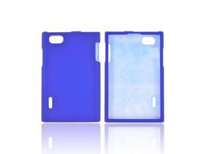 LG Intuition Vs950 Rubberized Hard Plastic Case Snap On Cover - Blue
