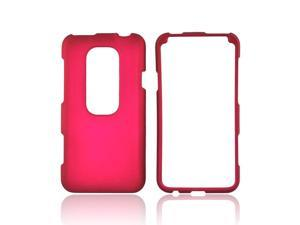 Rose Pink Rubberized Hard Plastic Snap On Case Cover For HTC EVO 3D