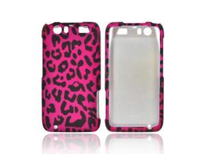 Motorola Atrix HD Rubberized Plastic Snap On Cover - Hot Pink/ Black Leopard