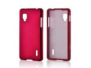Hot Pink Rubberized Hard Plastic Case Snap On Cover For LG Optimus G (sprint)