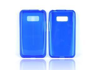 LG Optimus Elite Crystal Silicone Case - Blue Line Design