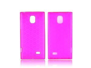 LG Spectrum 2 Crystal Rubbery Feel Silicone Skin Case Cover - Pink Hex Star