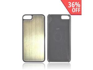 Apple Iphone 5 Hard Back Cover W/ Aluminum Back - Gold/ Black