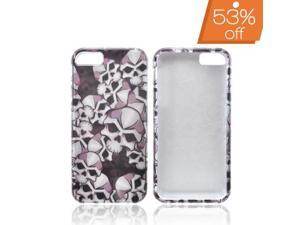 Slim & Protective Hard Case for Apple iPhone 5 / 5S - Silver Skulls on Black
