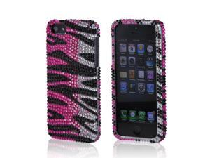 Apple Iphone 5 Bling Hard Plastic Case Snap On Cover - Hot Pink/ Silver/ Black Zebra
