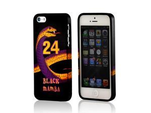 Black Mamba Purple/ Gold Snake On Black Crystal Rubbery Feel Silicone Skin Case Cover For Apple Iphone 5