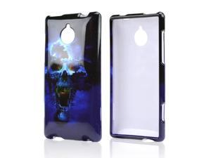 HTC 8XT Case, [Blue Skull] Slim & Protective Crystal Glossy Snap-on Hard Polycarbonate Plastic Case Cover