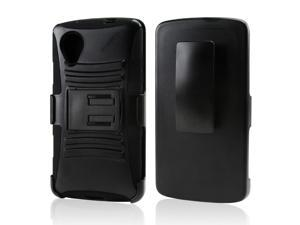 Black Hard Case w/ Stand on Silicone Skin Case w/ Holster for LG Google Nexus 5