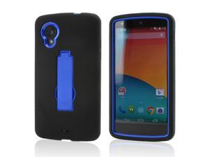 Black Silicone Skin on Blue Hard Case w/ Stand for LG Google Nexus 5