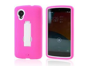 Hot Pink Silicone Skin White Hard Case w/ Stand for LG Google Nexus 5