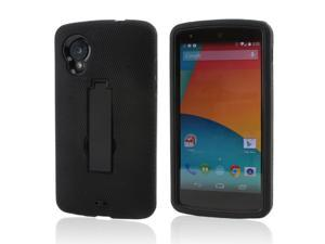Black Silicone Skin on Black Hard Case w/ Stand for LG Google Nexus 5