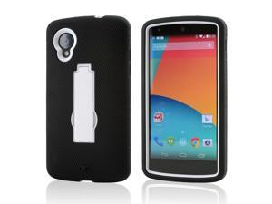 Black Silicone Skin on White Hard Case w/ Stand for LG Google Nexus 5