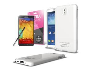 Samsung Galaxy Note 3 Case, [White] Slim & Flexible Anti-shock Crystal Silicone Protective TPU Gel Skin Case Cover