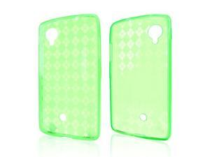 Argyle Neon Green TPU Silicone Skin Case for LG Google Nexus 5