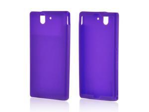 Xperia Z Case, [Purple] Slim & Flexible Anti-shock Matte Reinforced Silicone Rubber Protective Skin Case Cover for Sony