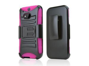 Black Hard Case w/ Kickstand on Hot Pink Silicone Case w/ Holster for HTC One (M8)