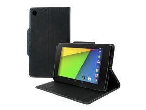 Google Nexus 7 2nd Gen Case, [Black] Luxury Faux Leather Saffiano Texture Front Flip Cover Diary Wallet Case w/ Magnetic