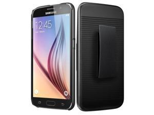 Galaxy S6 Case, [Black] Supreme Protection Rubberized Plastic on Silicone Dual Layer Hybrid Case with Holster & Belt