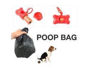 Bone Shape Dog Pooper Scooper Bag Carrier w/ bags [Red]