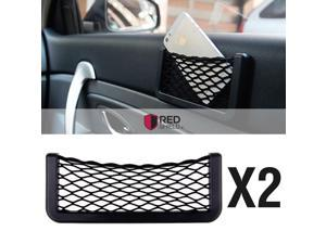 Black Car Net Bag Phone Holder Storage Pocket Organizer [2PK] [Also great for wallet  keys  pens  and MORE!]
