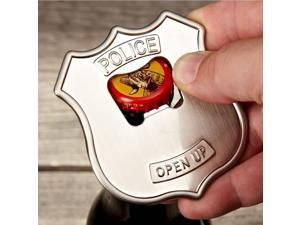 Kikkerland Open UP! Police Badge Stainless Steel Bottle Opener