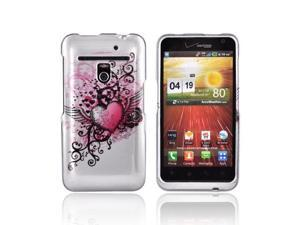 LG Revolution Case, [Red Heart with Wings] Slim & Protective Crystal Glossy Snap-on Hard