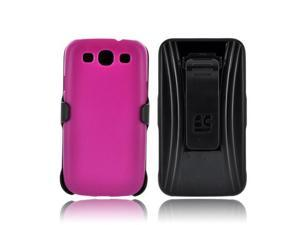 Samsung Galaxy S3 Holster & Case Combo w/ Screen Protector Belt Clip & Stand - Magenta/ Black